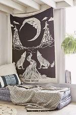 Llorando Lobo La Luna Tapete de pared colgando Hoja de cama de Bohemia Subasta