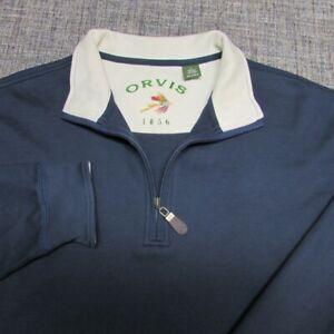 ORVIS 100% PIMA COTTON1/4 ZIP  SWEATSHIRT--XL--BLUE--OUTSTANDING SPOTLESS QUALI