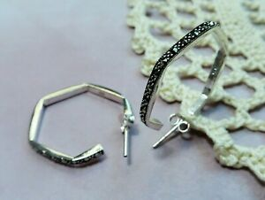 My S Collection 925 Sterling Silver & Marcasite Hexagon Hoop Earrings
