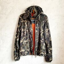Superdry Japan Jacket M Mens Camo Windcheater Windbreaker Green Full Zip Hooded