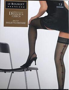 NEUF @  BAS JARRETIERE NOIR GRIS 20D + LE BOURGET Baguette Fantaisie + 3