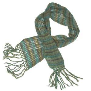 NEW H&M Beautiful Peacock Scarf + Beret Hat Boho Mohair Wool Blue Green - 063