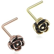 VINTAGE ROSE 20G NOSE RING STUD (L-SHAPED) STEEL BODY PIERCING JEWELRY