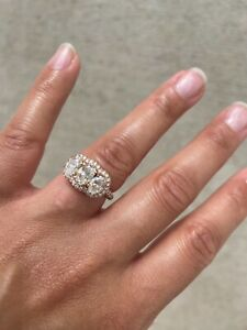 Custom 3 Oval Diamond Rose Gold Engagement Ring With GIA Certificates