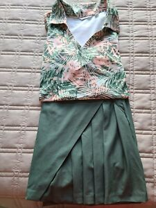 Lady Hagen Golf Skort/Sleeveless Top Green Size 8/Large Pleat Detail