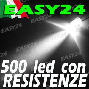 500 DIODI LED BIANCO BIANCHI ALTA LUMINOSITA' 20 gradi 5 mm con resistenze