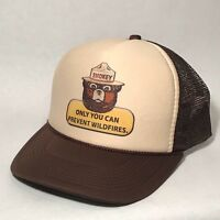 Smokey The Bear US Forest Service Mascot Trucker Hat Only You Vintage Brown Cap