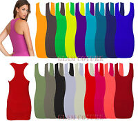 Womens Ladies Racer Back Vest Bodycon Muscle Vest Gym Top Sleeveless Tshirt 8-26