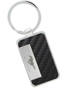 Black Simulated Carbon Fiber Mustang Key Chain - Must-Have / Gift For Mustangers