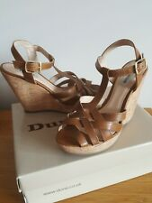Brand New In Box Dune Gerri Tan Leather Wedges size 5/38