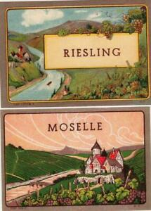 2 ORIGINAL VINTAGE COLOURFUL WINE LABELS - MOSELLE & RIESLING - 1920s