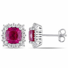 Amour Sterling Silver Created Ruby and Created White Sapphire Halo Stud Earrings