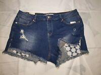 American Rag High Low Shortie Mid Rise embroidered pockets faded denim