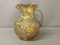 Vintage Dugan Floral & Grape Pattern Carnival Glass Pitcher