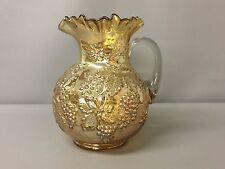 Vintage Dugan Floral & Grape Pattern Carnival Glass Pitcher