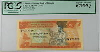 L.EE1969 (1976) Ethiopia 5 Birr Note SCWPM# 31a PCGS 67 PPQ Superb Gem New