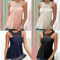 Women Lace Floral Sleeveless Crochet Knit Vintage Beach Vest Tank Top T Shirt