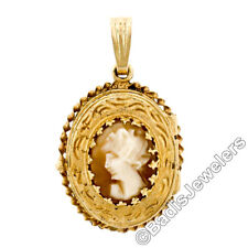 Vintage 14K Yellow Gold Carved Cameo Engraved Twisted Wire Frame Locket Pendant