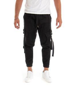 Pantalone Uomo Tinta Unita Nero Cargo Elastico Coulisse GIOSAL