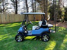 Custom Lifted Club Car Precedent 48 Volt Golf Cart - Sky Blue / Tan