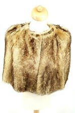 Burberry London Real Fur Cape Italy, Cream & Brown, Hook Fastening