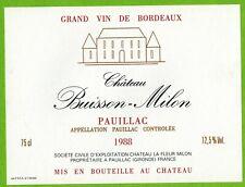Etiquette de Vin-Bordeaux-Pauillac-1988-Château Buisson-Milon-Réf.469b