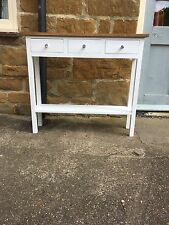 Bespoke H80 x W90 x D25cm CONSOLE HALL 3 DRAWERS SHELF TABLE WHITE SATIN OAK TOP