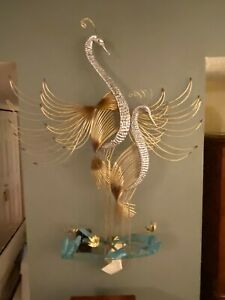 C. JERE Wall Sculpture Herons With Tags/Signed Swans Metal Art Large MCM Rare