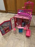 Mattel Barbie Doll House. Converts To Case. With Bed, Couch, Table, Etc.