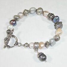 Silpada B0986 Freshwater Pearl Pink Gray Bracelet .925 Sterling Silver Rare