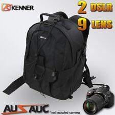 "Pro Camera Backpack Travel Bag for 2x DSLR 7x Lens 15"" Laptop Area Tripod Strap"