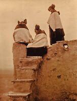 1906/90 EDWARD CURTIS American Indian Hopi Women Adobe GOLDTONE Photo Art 11x14