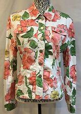 Dressbarn Floral Flower Print Button Front Light Stretch Cotton Jacket Large