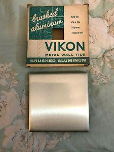 """Vintage Viton Brushed Aluminum Wall Tiles 4.25"""" x 4.25"""". 3 square feet per box"""