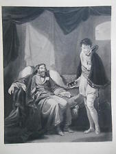 Orginal c1880 Antiquarian Engraving of Henry IV Reproving Prince Henry (Royalty)
