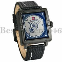Mens Date Week Large Square Dial Leather Band Sports Analog Quartz Wrist Watch