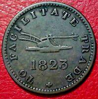 1823 CANADA HALF PENNY FACILITATE TRADE TOKEN  UC-12A2 COPPER COIN #237