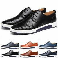 Men Casual Leather Shoes Sneakers Oxford Breathable Lace-up Summer Shoes Fashion