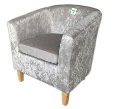 Silver Crushed Velvet Tub Chair With Solid Beech Wood Legs Grey Fabric Armchair