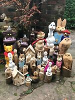 chainsaw carvings, owls, rabbits, gruffalo, olaf, snowman Christmas decorations