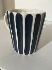 Starbucks 2008 Blue and White Striped Coffee Tea Cup Mug  perfect gift