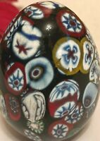 "Vintage Murano Italy Art Glass Paperweight Black EGG Millefiore Design  2.5""H"