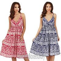 Ladies Paisley Print Strappy Sleeveless Short Summer Beach Dress Size 8 - 22