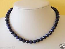 "Blue Lapis Lazuli 8mm Necklace Round Beads 16"" Necklace 8 mm Lapis Beads"