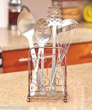 Bronze-Finish Country Rooster Kitchen Cutlery Utensil Flatware Hold Caddy Decor