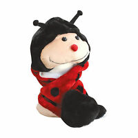 Ladybug Winter Fluffy Plush Cute Warm Hat Long Flaps with Mittens Scarf Beanie