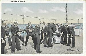 Vintage Naval Postcard, Jackies in Action