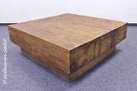 TEAK BLOCKBOHLEN COUCHTISCH MONOLITH Teakholz antik massiv 100x100 Tisch KUBUS