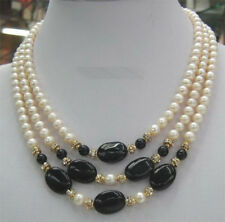Natural 3 Rows Real White Pearl & Black Agate Pendant Necklace 17-20'' JN1741