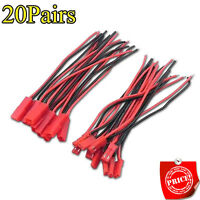 20Pairs Male+Female JST Connector Plug Cable Line 10cm for RC BEC Lipo Battery I